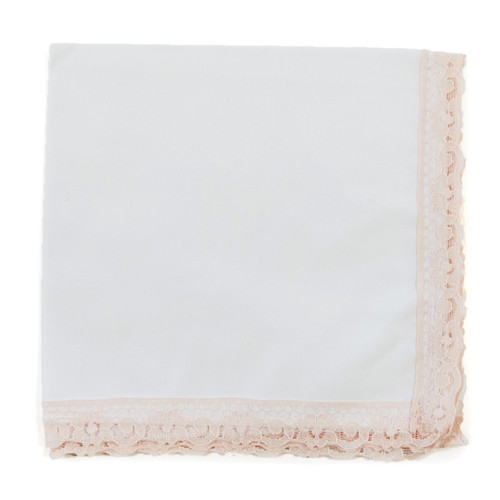 Pink blush lace wedding handkerchief with white fabric and blush color lace. Ready to customize with an embroidered message.