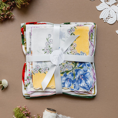 Vintage handkerchiefs for sale from The Handkerchief Shop in various shapes, sizes and colors to use as favors or gifts.