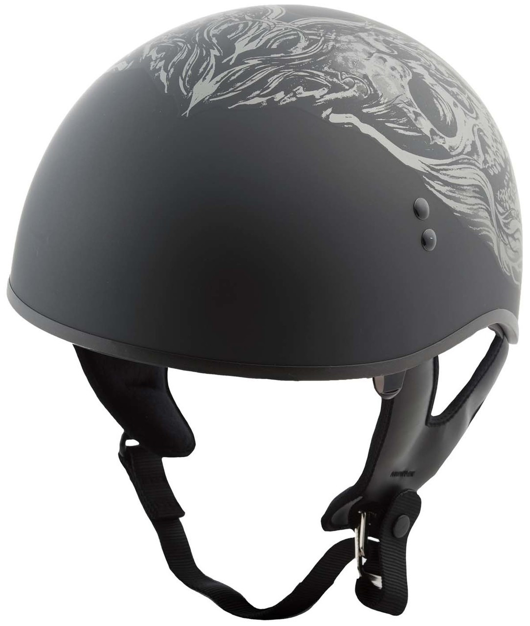 GMAX HH-65 Ghost/Rip Naked X-Small Matte Black/Silver Half