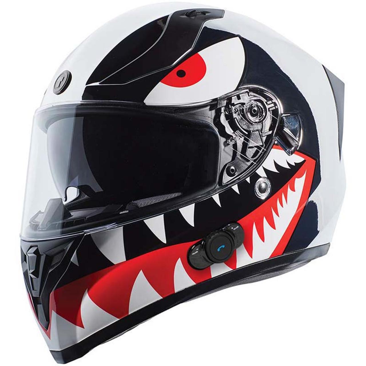 T15 Gloss Black Red Edge Dual Visor Full Face Motorcycle Helmet Sport Racing