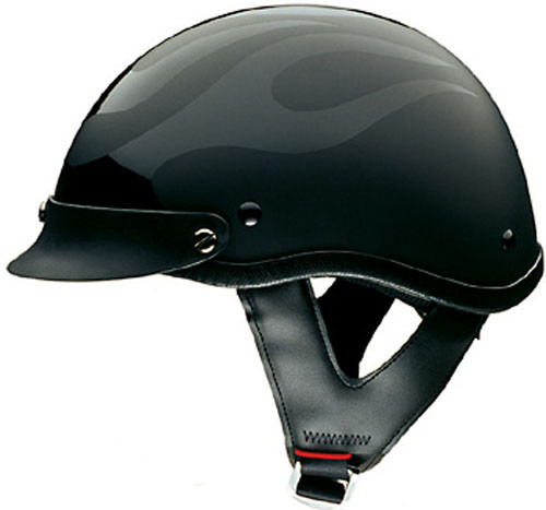 HCI Gloss Black ABS Shell Open Face Motorcycle Helmet with Visor 10-010