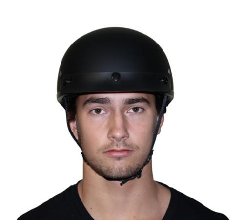 ... Daytona Skull Cap Slim Line Half Helmet Dull Black When Worn Front 80f1959c4bb