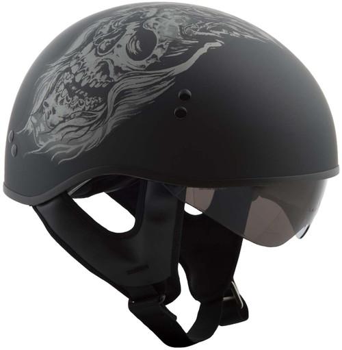 Gmax GM65 Ghost Naked Helmet Flat Black/Silver