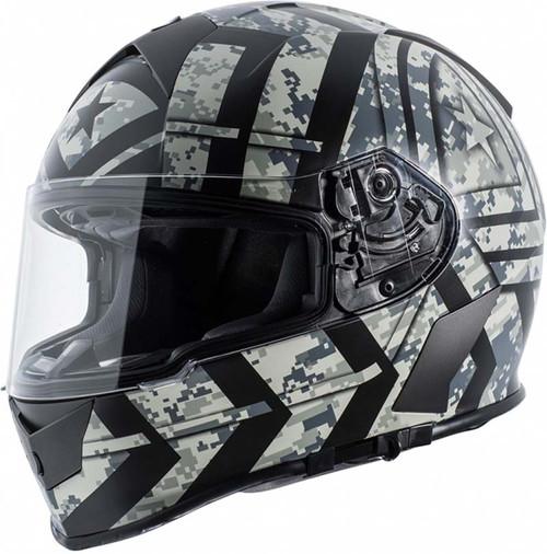 TORC T14 Tracer Mako Full Face Helmet Flat Black//Orange, Large