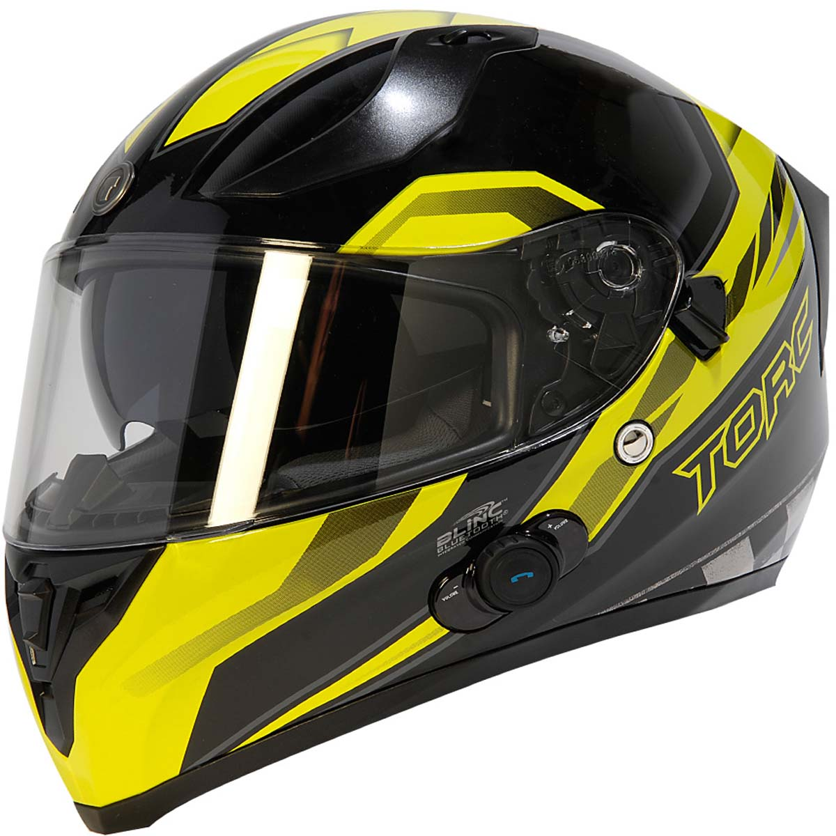 Torc T15B Flat Black Bluetooth Helmet Blinc Full Face DOT XS-2XL