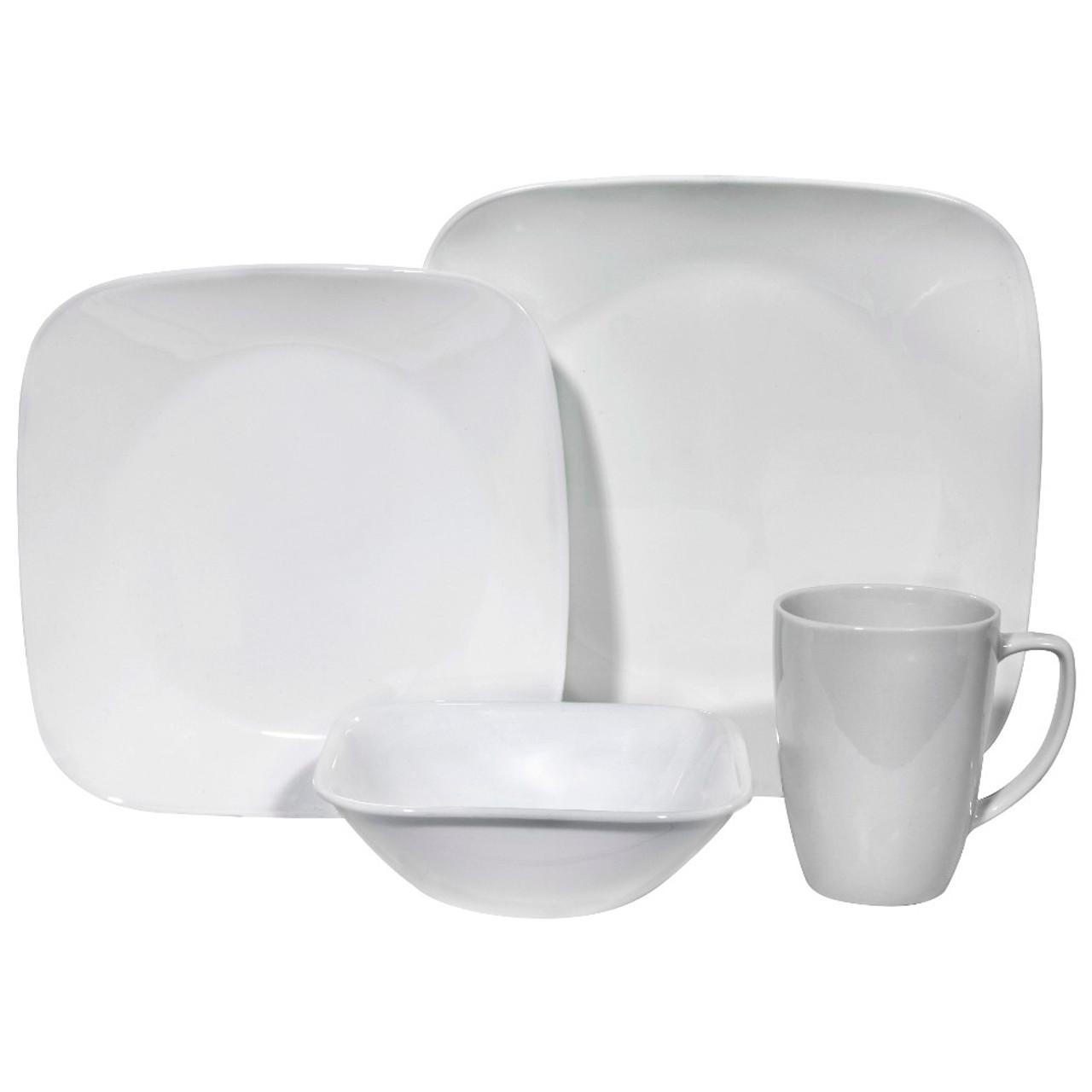 Corelle Square 20 Pure White 20 piece Dinnerware Set