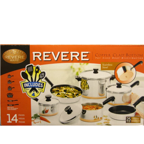 Revere 1062767 14-piece Copper Clad Bottom Stainless Steel Cookware Set