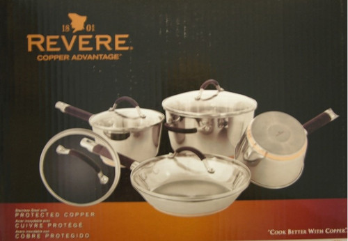 Revere 1076042 8-piece Copper Advantage Protected Copper & Stainless Cookware Set