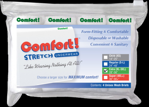 Comfort! 1470XL Latex-Free Nylon Disposable Stretch Mesh Brief, XLarge, White (4-Pack)