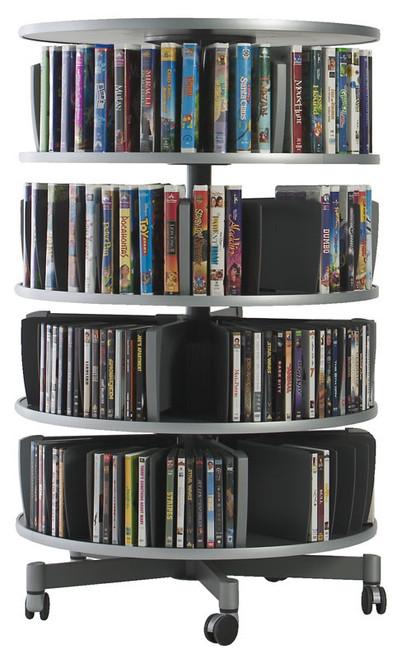 4-Tier Media Center Carousel - CD, DVD, or VHS Tape Storage