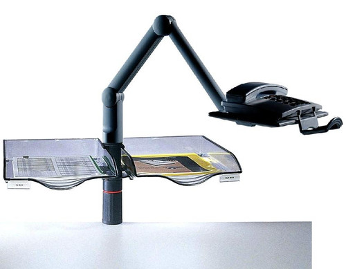 Axcess 2-Tray Duo Swingfile w/ Phone Arm and Desk Mounting Clamp - Black