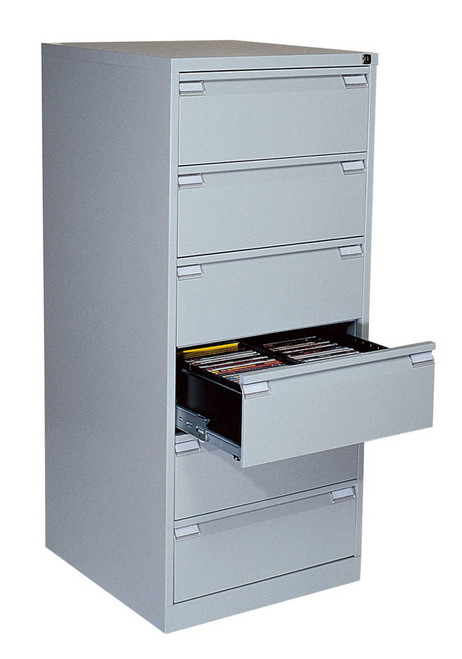 Axcess 6-Drawer Multimedia Magnum Media Storage Cabinet  - Light Gray
