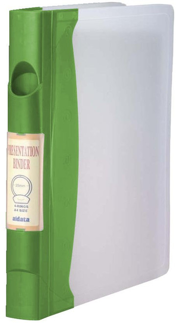 "Aidata Durable Molded 1"" 3-Ring Binder - Green Spine"