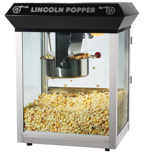 Black Bar Style Lincoln Eight Ounce Antique Popcorn Machine