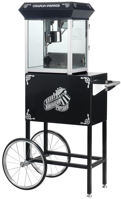 Black Chaplin Four Ounce Theater Style Popcorn Machine and Cart