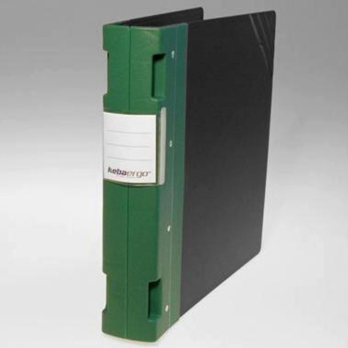 "Keba Ergo 2 1/4"" 3-Ring Black Binder: Green Spine"