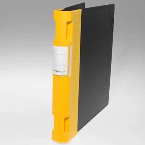 """Keba Ergo 1 1/2"""" 3-Ring Black Binder: Yellow Spine"""