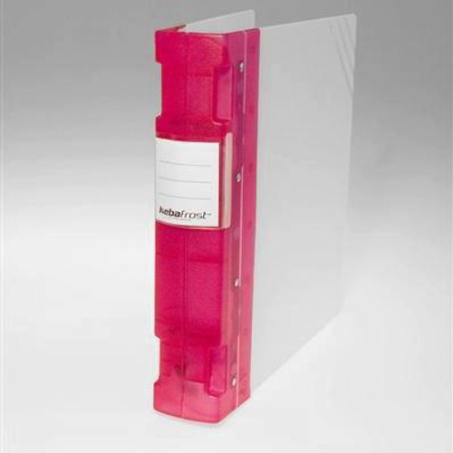 "Keba Frost 2 1/4"" 3-Ring Translucent White Binder: Fuchsia Spine"