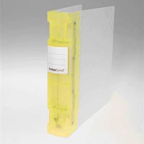 "Keba Frost 2 1/4"" 3-Ring Translucent White Binder: Yellow Spine"