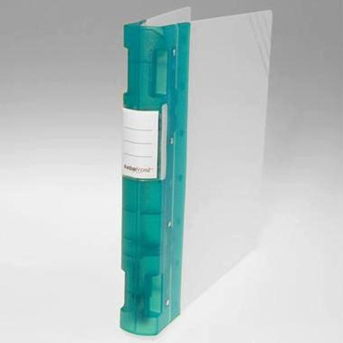 "Keba Frost 1 1/2"" 3-Ring Translucent White Binder: Green Spine"