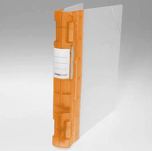 "Keba Frost 1 1/2"" 3-Ring Translucent White Binder: Orange Spine"