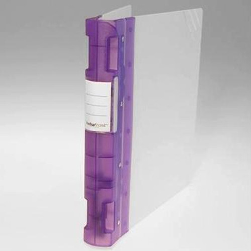 "Keba Frost 1 1/2"" 3-Ring Translucent White Binder: Lilac/Purple Spine"