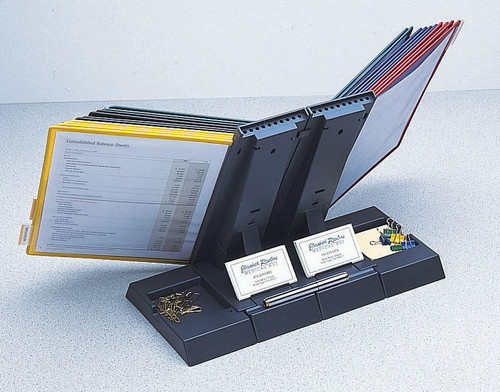 Axcess 10 Pocket Desktop Organizer w/ Assorted Pockets. Displays 100 Sheets. - Black