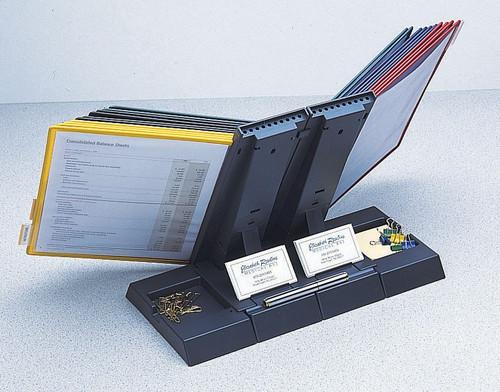 Axcess 10 Pocket Desktop Organizer w/ Assorted Pockets. Displays 20 Sheets. - Grey