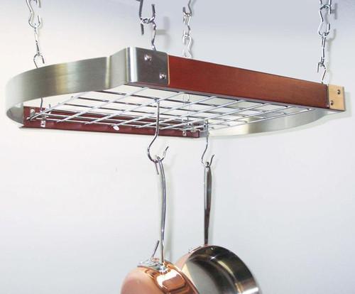 Decorative Rectangular Ceiling Rack - Stainless Steel / Espresso