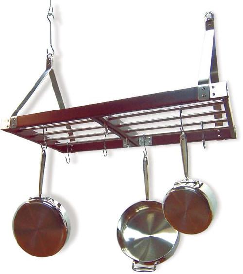 Decorative Rectangular Ceiling Rack - Stainless Steel / Espresso 2
