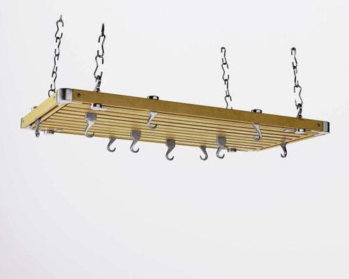 Rectangular Ceiling Pot Rack - Natural Wood
