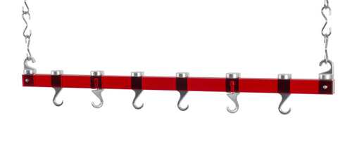 Concept Housewares 36-Inch Ceiling Pot Rack - Red