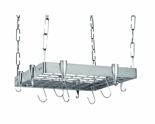 Professional Square Ceiling Pot Rack - Stainless Steel