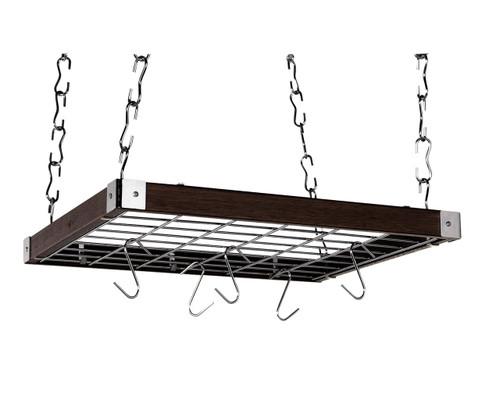 Square Ceiling Pot Rack - Espresso Wood