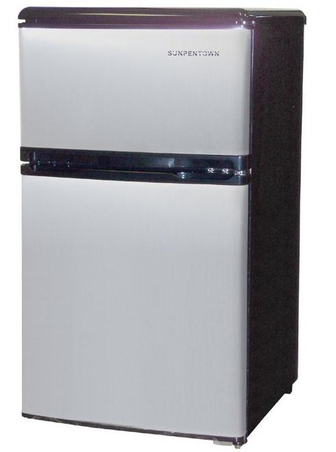 3.2 cu.ft. Double Door Refrigerator - Stainless Steel