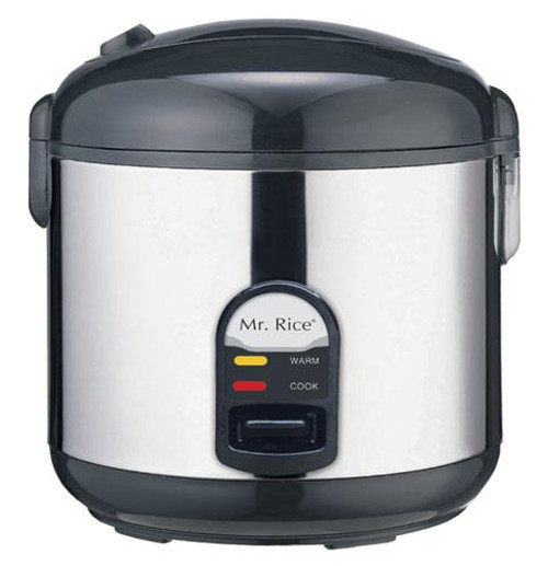10-Cup Rice Cooker with Stainless Steel Body