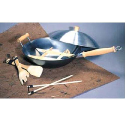 """14"""" Wok Set Professional Carbon Steel 7 Piece Set"""