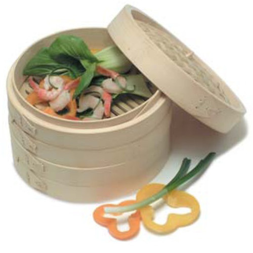 """10"""" Bamboo Deluxe Steamer 3-Piece Set WK-14690"""