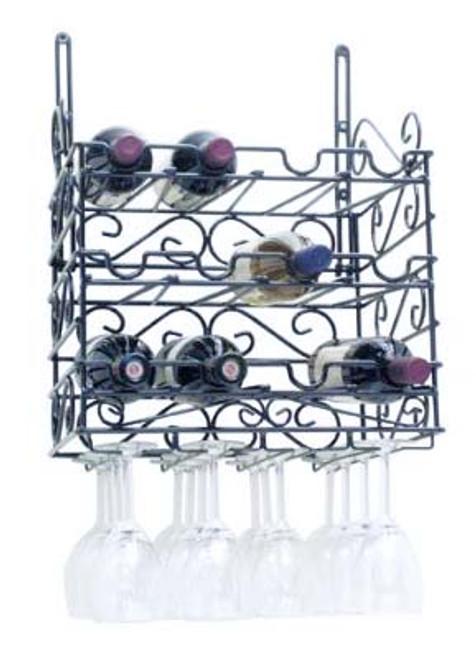 12-bottle 3-Tier Metal Wine and Glass Rack - Black
