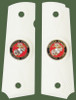 1911 Government Model US Marine Corps USMC Colored Emblems Set In Light Ivory Color Grips G54
