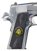Garrison Grip 1911 Colt A1 Full Size and Clones (Grips Only) with US Army Colored Medallion Set in Double Diamond Ebony Black Colored ABS