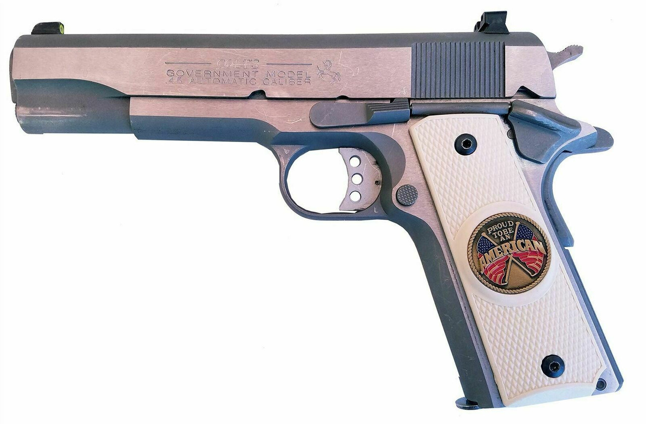 Garrison Grip 1911 Colt A1 Full Size and Clones (Grips Only) with PROUD TO BE AN AMERICAN Colored Medallion Set in Solid Ebony Black Colored ABS