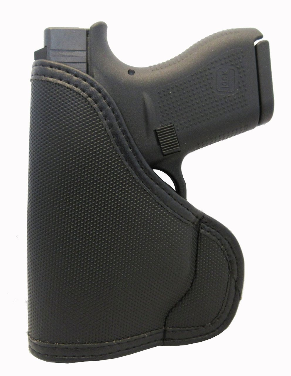 GLOCK 42 G42 .380 Custom Fit Leather Trimmed orGUNizer Poly Pocket Holster For Concealed Carry Comfort (D)