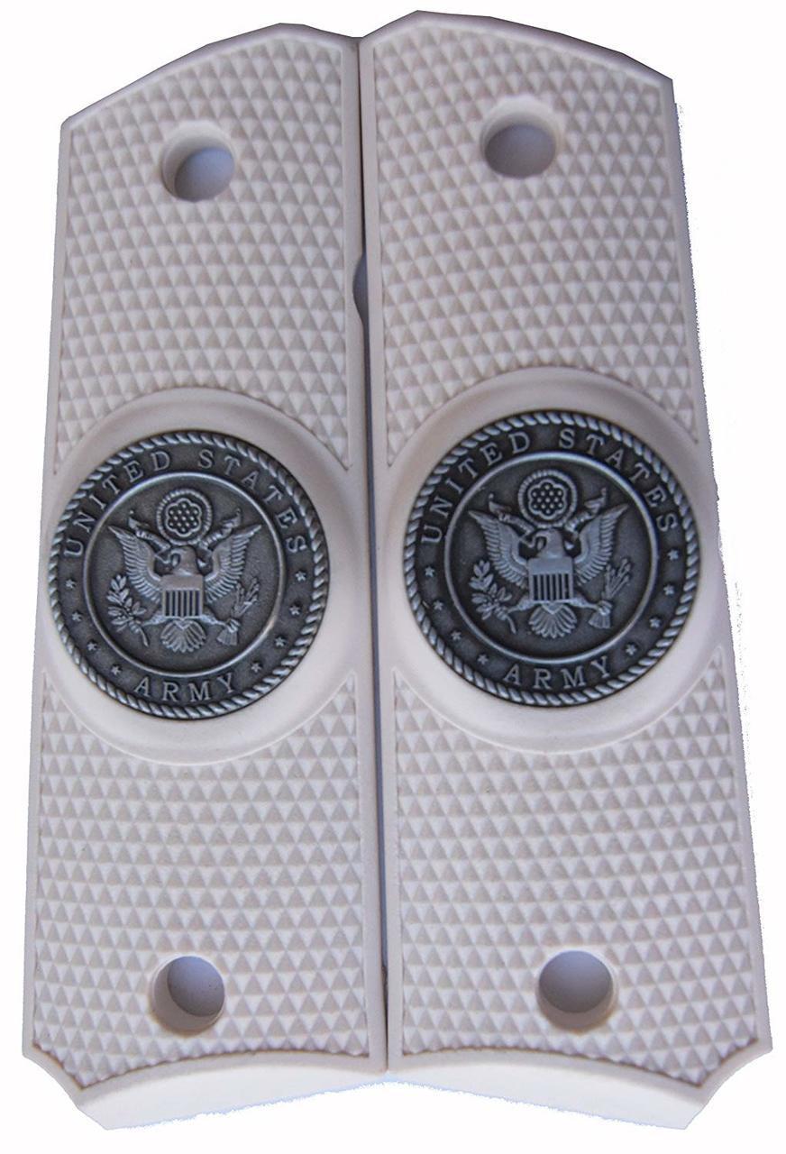 Garrison Grip 1911 Colt A1 Full Size and Clones (Grips Only) with US Army Pewter Medallion Set in Solid High Grade White Ivory Colored ABS