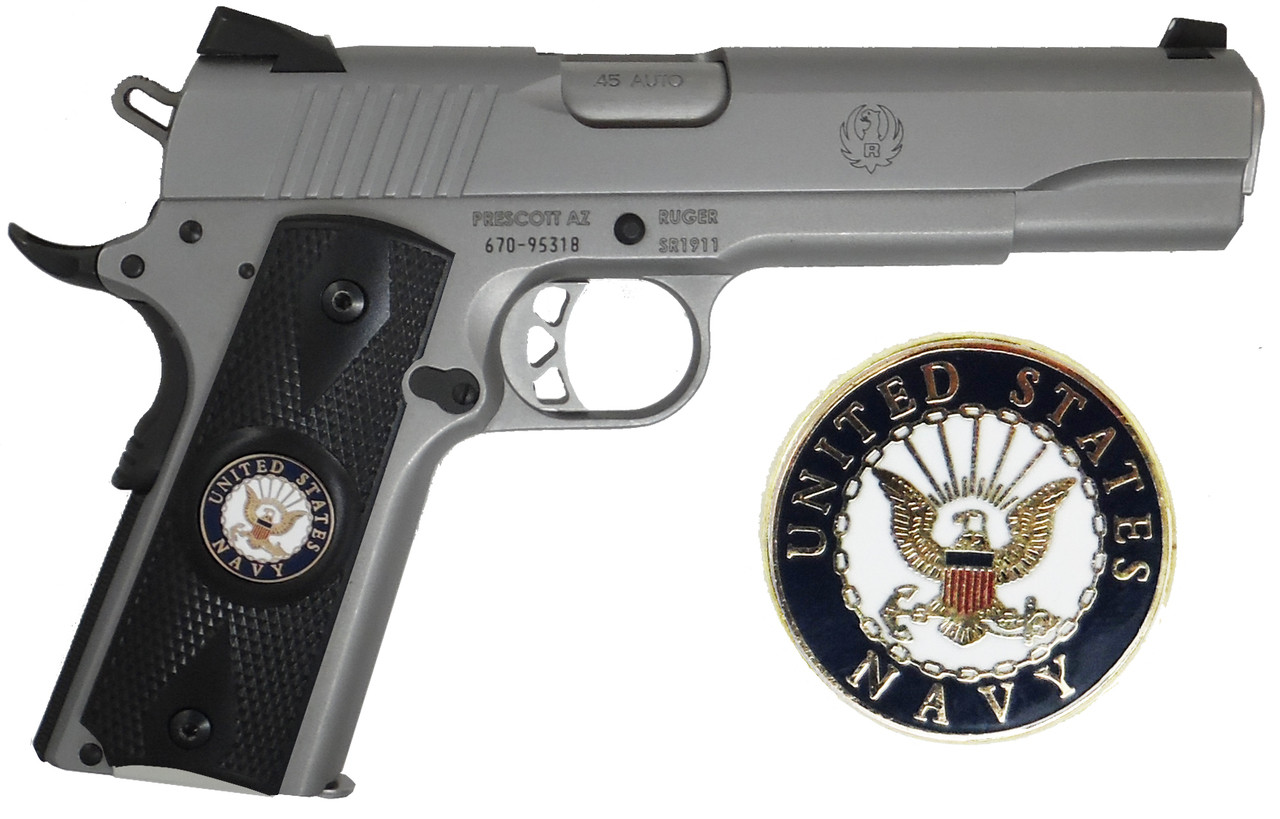Garrison Grip 1911 Colt A1 Full Size and Clones (Grips Only) with US Navy Colored Medallion Set in Double Diamond Ebony Black Colored ABS