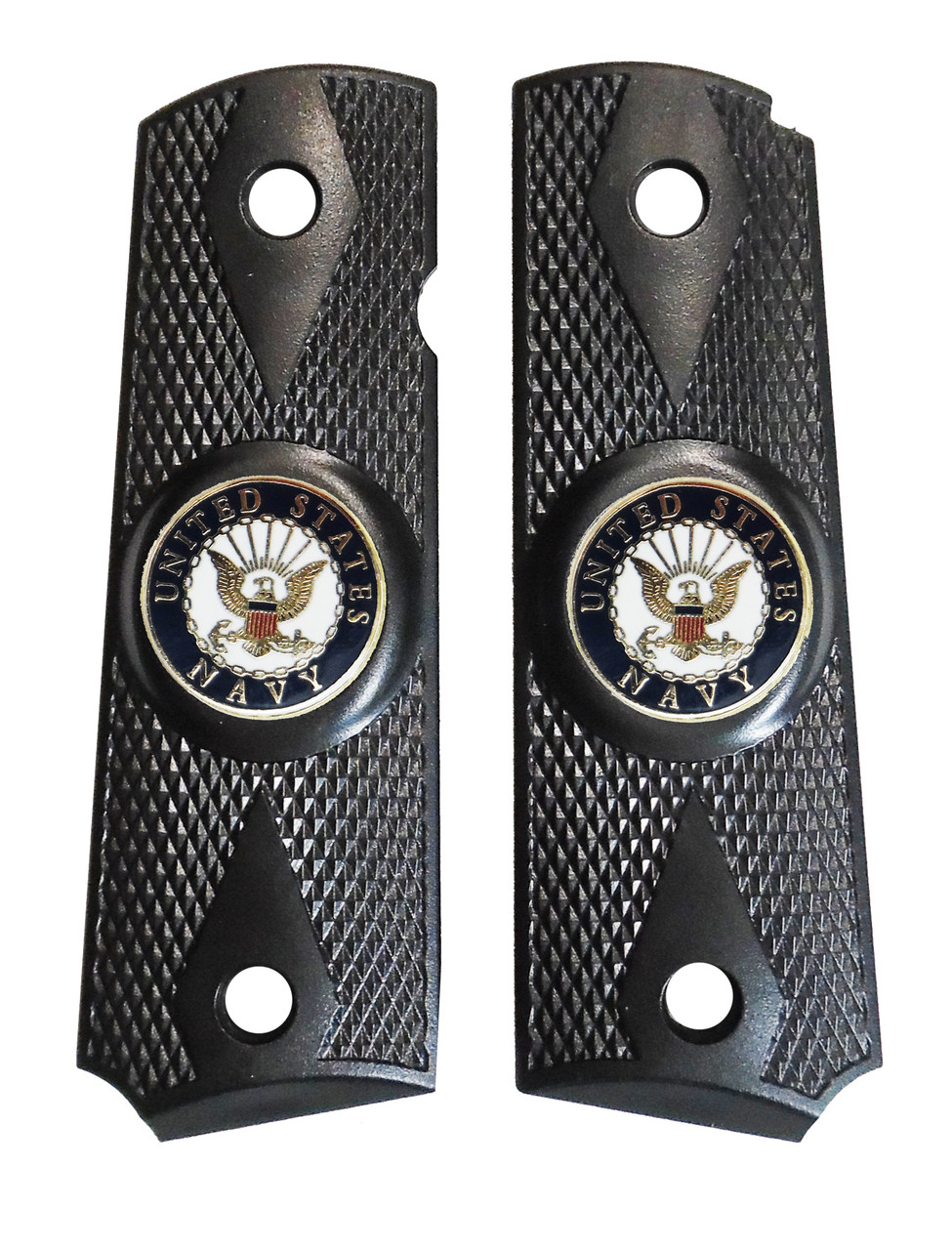 1911 Government Model US Navy Emblems Set In Attractive Ebony Black Polymer Grip G22