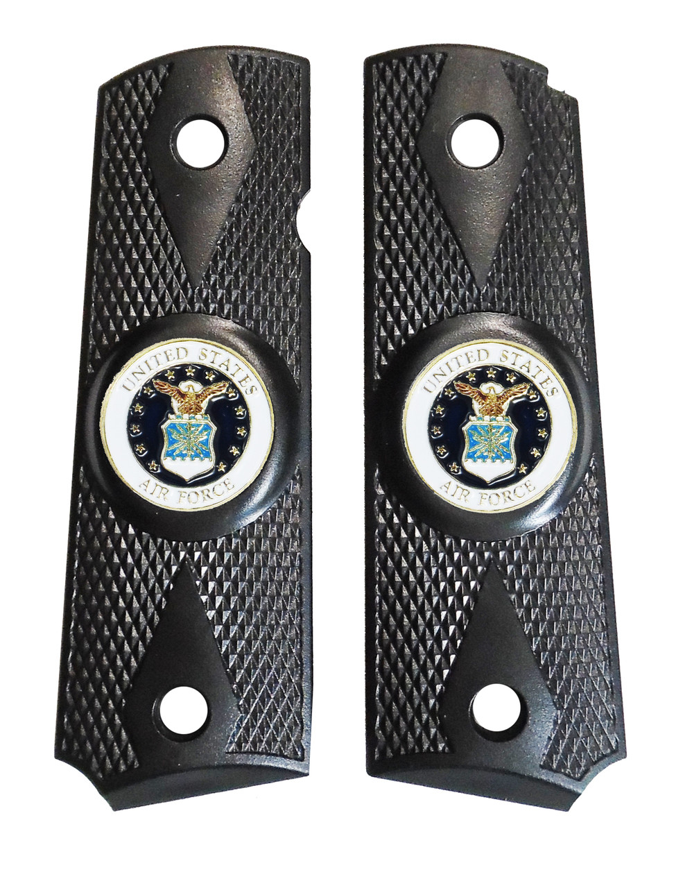 1911 Government Model US Air Force Emblems Set In Ebony Black Polymer Grips G44