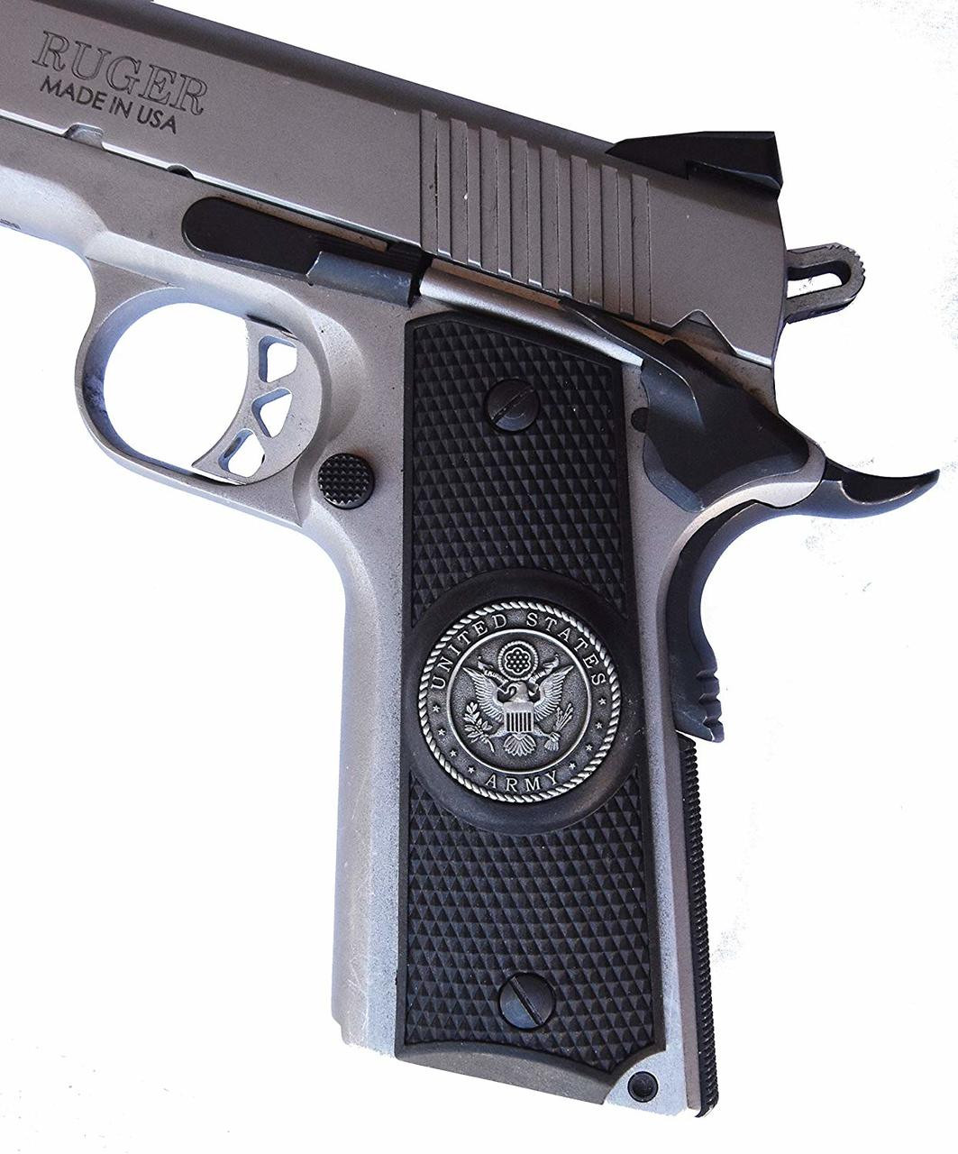 Garrison Grip 1911 Colt A1 Full Size and Clones (Grips Only) with US Army Pewter Medallion Set in Solid High Grade Ebony Black Colored ABS