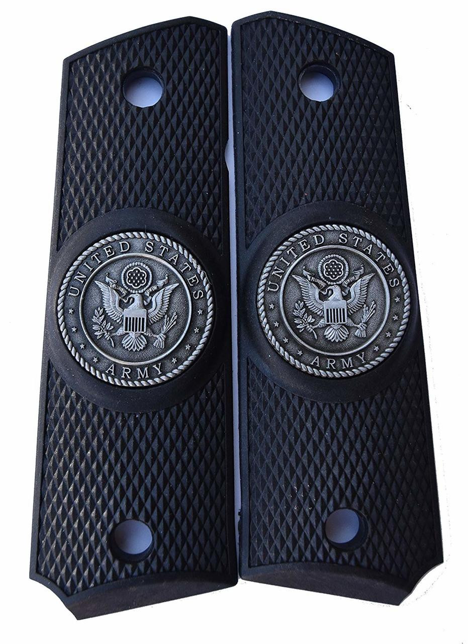 1911 Government Model US Army Pewter Emblems Set In Ebony Black Polymer Grips