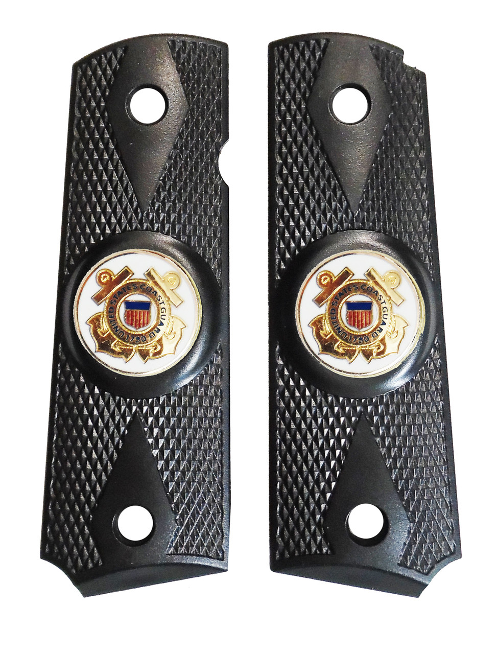 1911 Government Model US Coast Guard Emblems Set In Ebony Black Polymer Grips G52